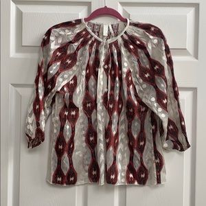 Line & Dot Sheer Button Up 3/4 Sleeve Blouse, NWT